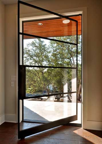 Pivot Door Steel Architect Series Custom 4 Lite with Handle M-10 and Clear Glass - Portella Iron Doors