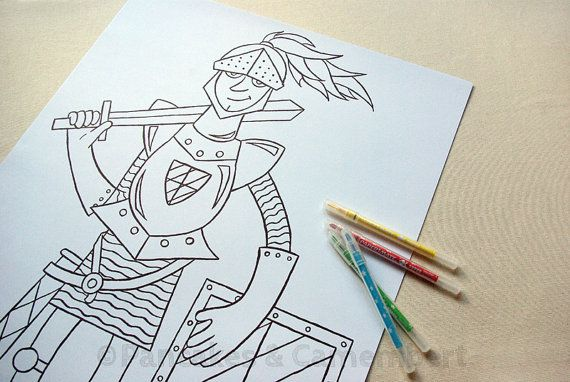 Coloring poster - Knight by PancakesCamembert on Etsy, €6.00