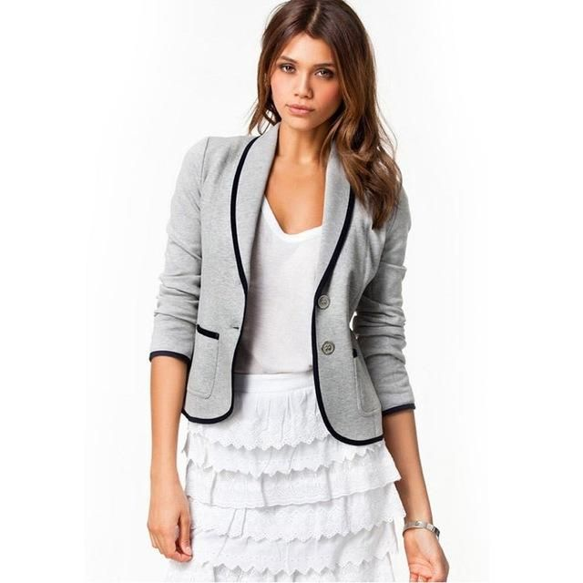 Plus Size S-6 Women Jacket Autumn Spring Slim Casual Coat Women's Jackets New OL Style Long Sleeve Coats chaqueta mujer gray1 M
