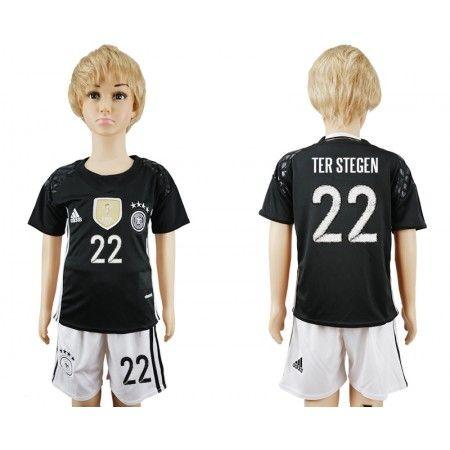 Tyskland Trøje Børn 2016 #Ter Stegen 22 målmand Udebanetrøje Kort ærmer.199,62KR.shirtshopservice@gmail.com