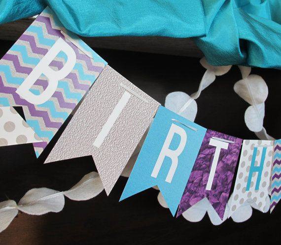 CUSTOM Frozen Happy Birthday Banner with Name and Age, Frozen Birthday Banner, Frozen Banner, Blue Teal Purple Silver, You Print