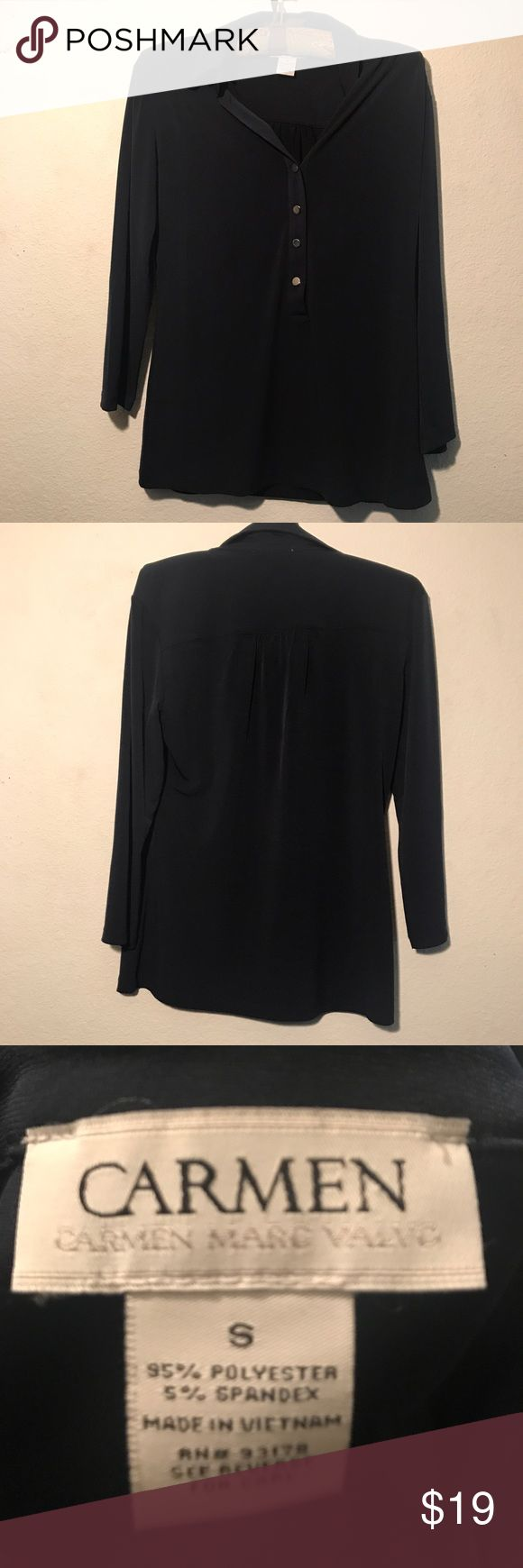 CARMEN MARC VALVO 4 button blouse - size small CARMEN MARC VALVO 4 button blouse - size small. The four buttons are scuffed a tiny amount. Carmen Marc Valvo Tops Blouses