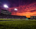 The sun sents behind Dowdy-Ficklen Stadium during the ECU-UNC football game. The Pirates beat the Tar Heels 70-41.