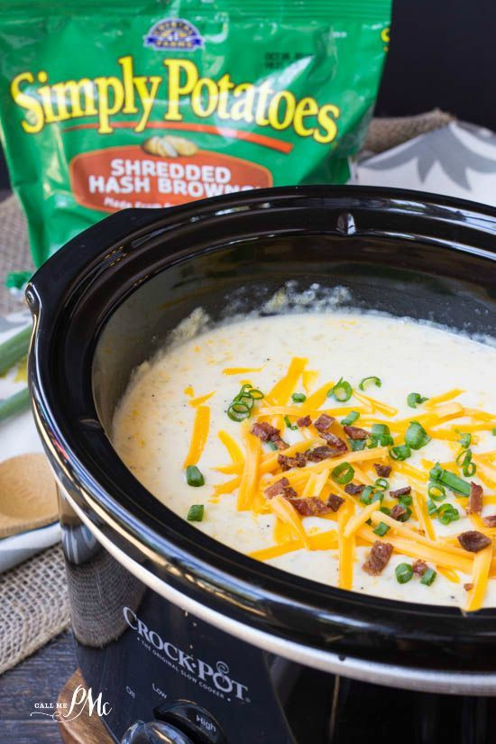 Hash Brown Slow Cooker Potato Soup recipe. A creamy comfort food that makes this recipe an easy fall favorite.
