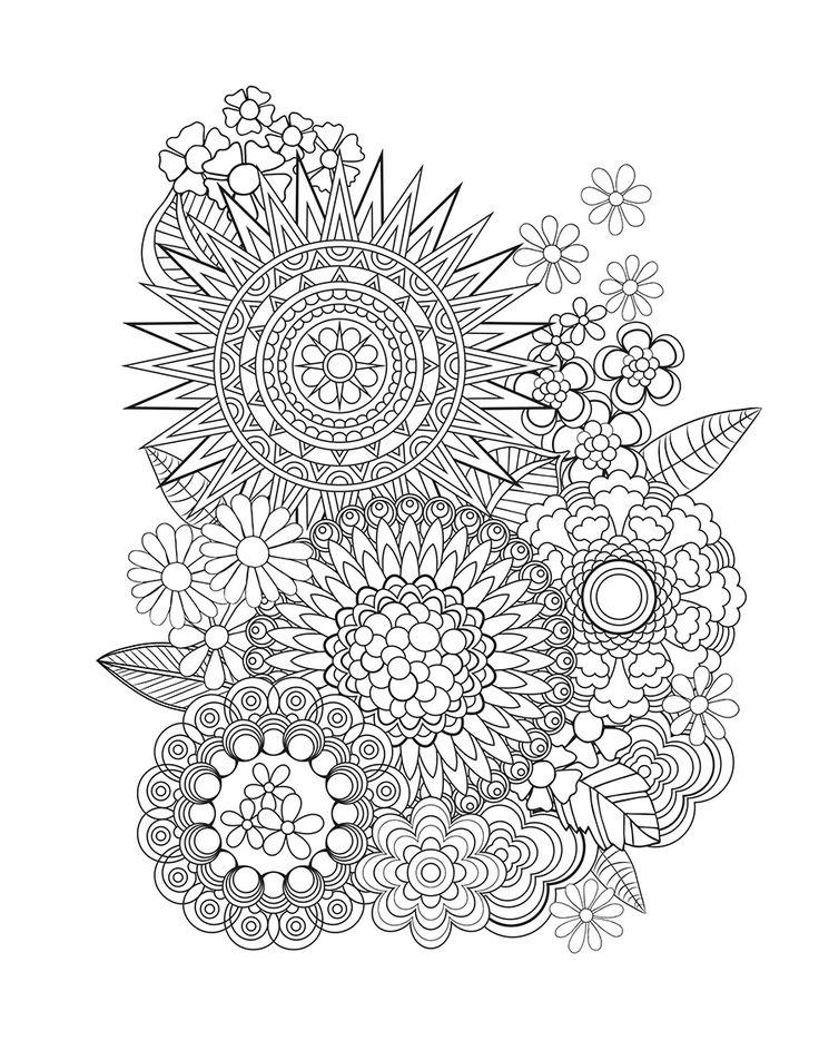 Superb Create Coloring Book 9 Flower Designs I Create