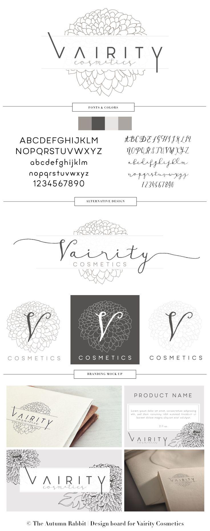 Cosmetics Company branding board | hand drawn flower | Designed by  www.theautumnrabbit.com