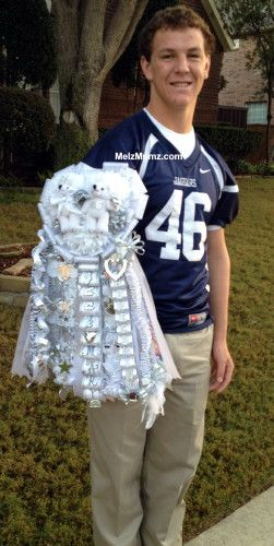 Melz Mumz MEGA Triple Homecoming Garter Flower Mound High School. senior. Custom made homecoming mums and garters by melzmumz.com