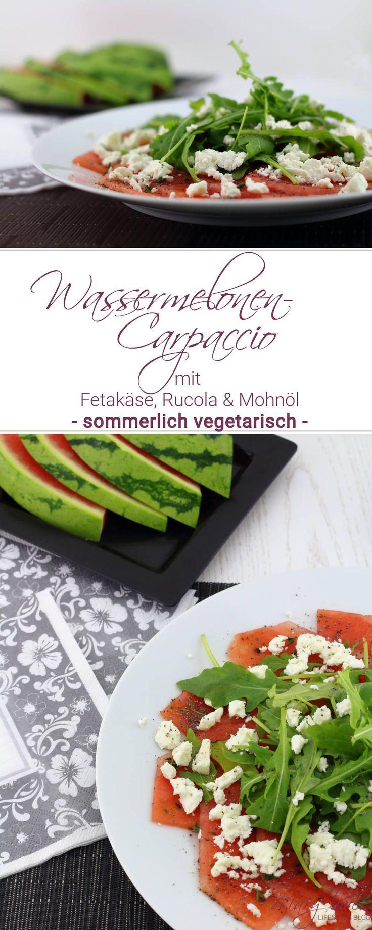 Wassermelonen-Carpaccio mit Fetakäse, Rucola und Mohnöl als sommerliche vegetarische Vorspeise - Rezept für eine Sommer-Vorspeise mit Wassermelone und Feta
