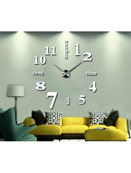Ceas de perete adeziv - marile șapte Referinta  12S015-RAL9010-S-COLOR** Alege o culoare de unul singur! Timpul a venit mult mai confortabil REALIT ceas nou. 3D Ceas de perete mare este un decor frumos al interiorului. Nu vei fi niciodată târziu.