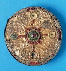 Anglo-Saxon brooch found at Harford Farm near Norwich and on display at the Norwich Castle Museum