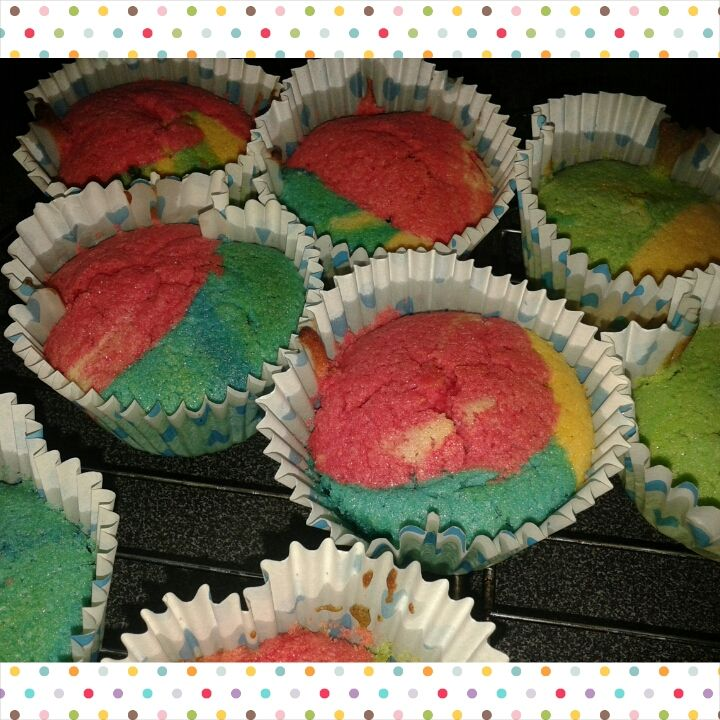 Egg & Dairy free Rainbow cakes I made with my children. Egg was replaced in this recipe with the Orgran egg replacer. We separated the mixture and added colours then placed a teaspoon of each into the case and allowed to cook.