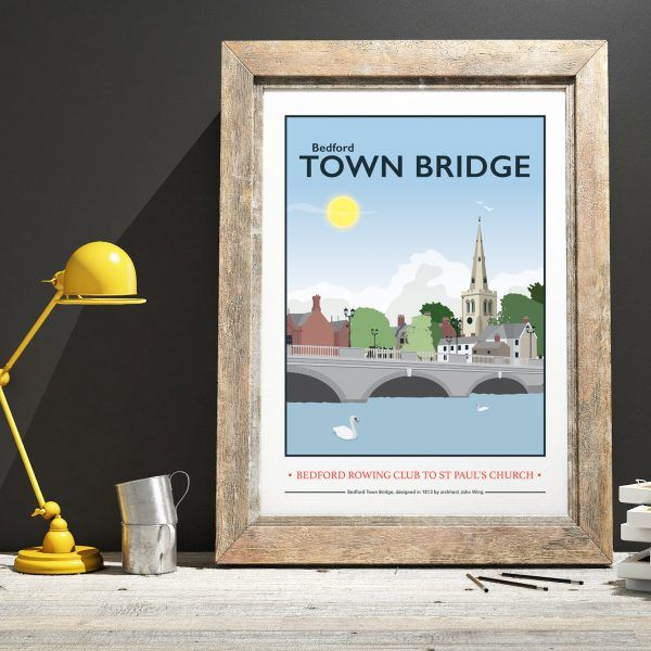 Bedford Town Bridge Print by Tabitha Mary. £16.00–£105.00 View of Bedford town bridge from the rowing club across to St Paul's Church. I am inspired by the old railway posters, my prints are now available as digital prints, signed Giclee prints both with an option of framing.