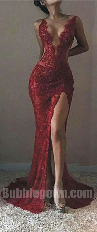 Sexy Red Llace Mermaid Side Split Deep V Neck Long Prom Dress, BGP060  #promdress #promdresses #longpromdress #longpromdresses