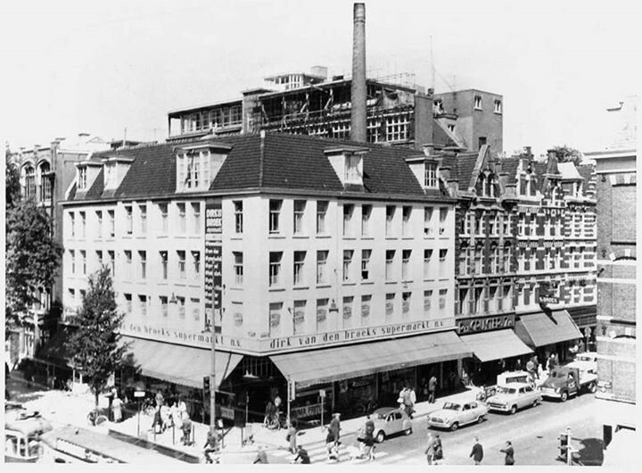 1960's. The first Dirk Van Den Broek supermarket at the corner of Kinkerstraat and Bildersijkstraat. #amsterdam #1960