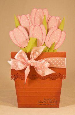 tulips in a flower pot card