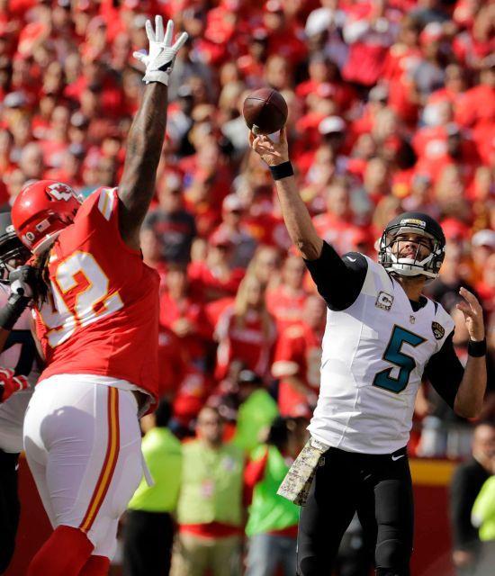 Jaguars vs. Chiefs  -  19-14, Chiefs  -  November 6, 2016  -   Jacksonville Jaguars quarterback Blake Bortles (5) throws against Kansas City Chiefs defensive lineman Dontari Poe (92) during the first half of an NFL football game in Kansas City, Mo., Sunday, Nov. 6, 2016.