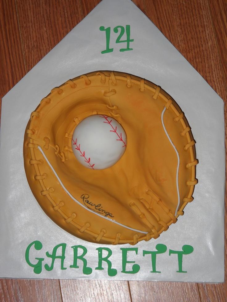 Baseball in the glove birthday cake