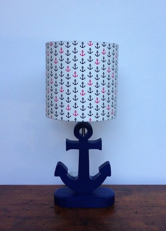 Anchor Lamp - Handmade Wooden Nautical Desk or Table Lamp - Great for Nursery, Child's Room or Nautical Theme on Etsy, $50.00
