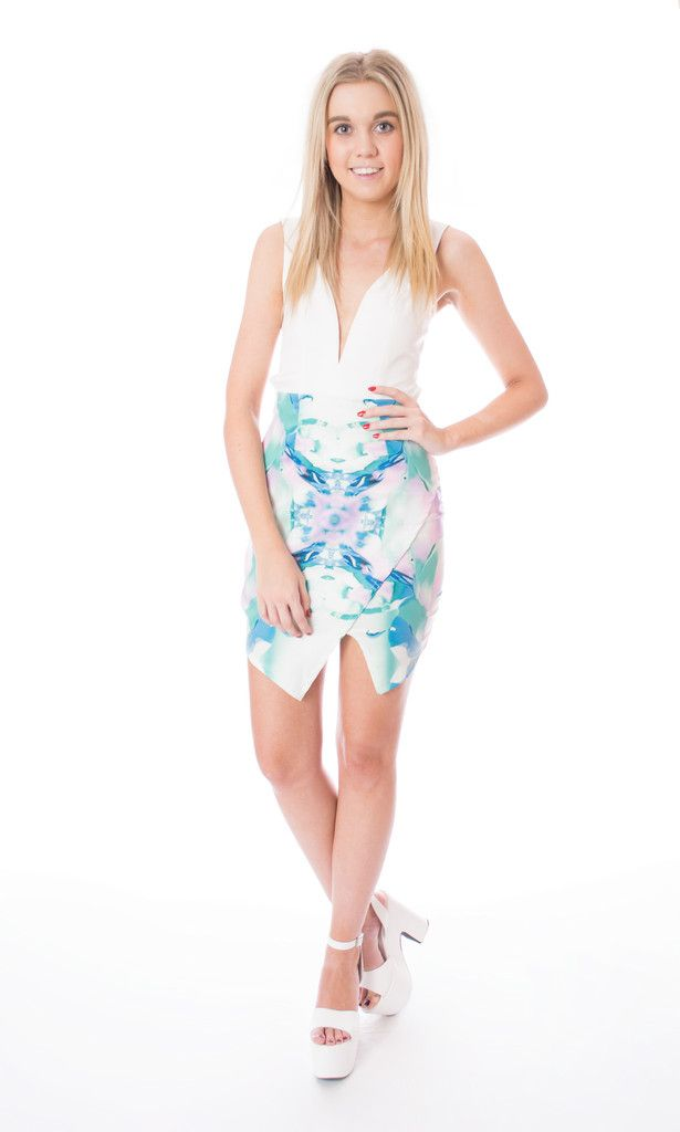 pastel print plunge front dress Click to buy now