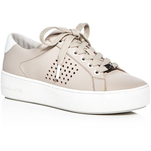 Michael Michael Kors Poppy Perforated Lace Up Platform Sneakers (€125) ❤ liked on Polyvore featuring shoes, sneakers, cement beige, michael michael kors shoes, beige sneakers, lacing sneakers, poppy shoes and platform lace up shoes