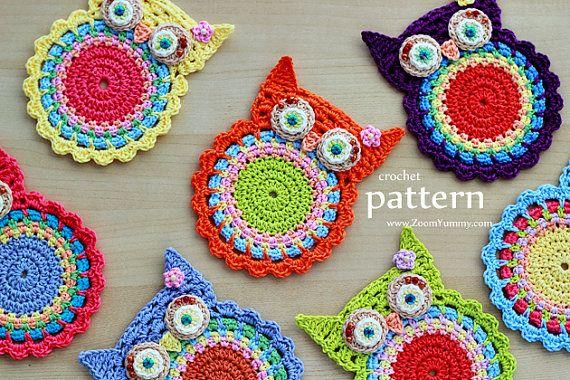 Crochet Pattern - Crochet Owl Coasters, Appliques - (Pattern No. 058) - INSTANT DIGITAL DOWNLOAD