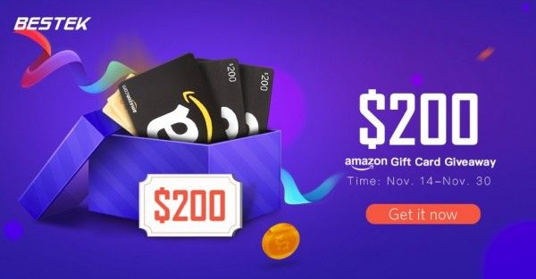 Win A 200 Amazon Gift Card By Bestek Amazon Gift Card Free Amazon Gifts Amazon Gift Cards