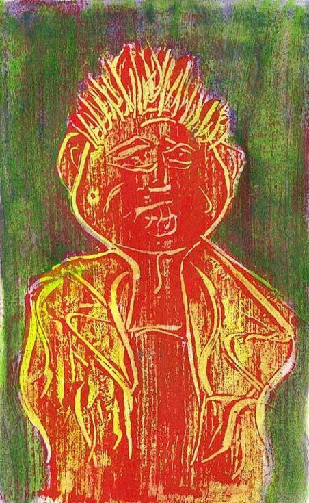 ARTFINDER: Red Punk by Steve Clement-Large - Another spiky monotype, this time executed in red acrylic paint and hand-finished in yellows and greens.