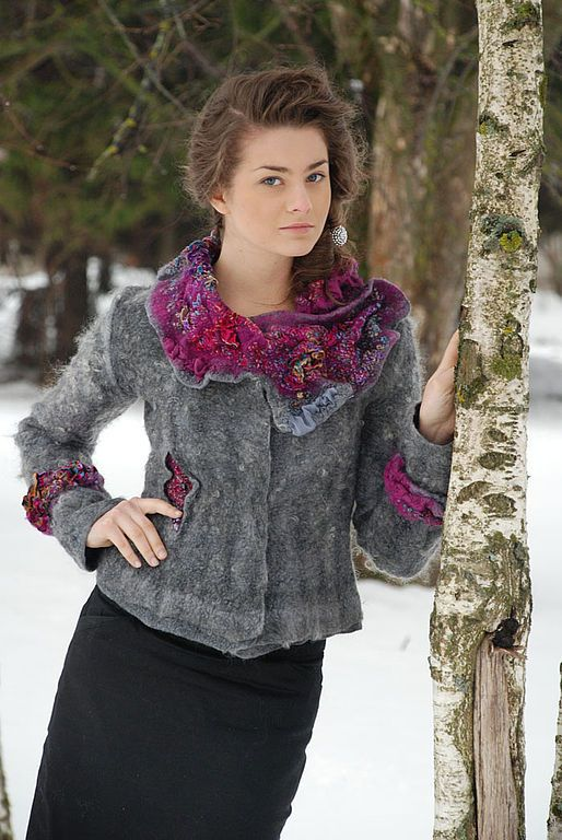 Fair Masters - handmade jacket is KEIZAN.  Svetlana Vronskaya.  Warm woolen jacket . Created with Nuno. Wet felting . Fastens with buttons.   Price 600 euros