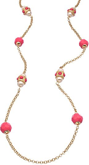 Blu Bijoux Gold Crystal and Coral Bead Long Necklace