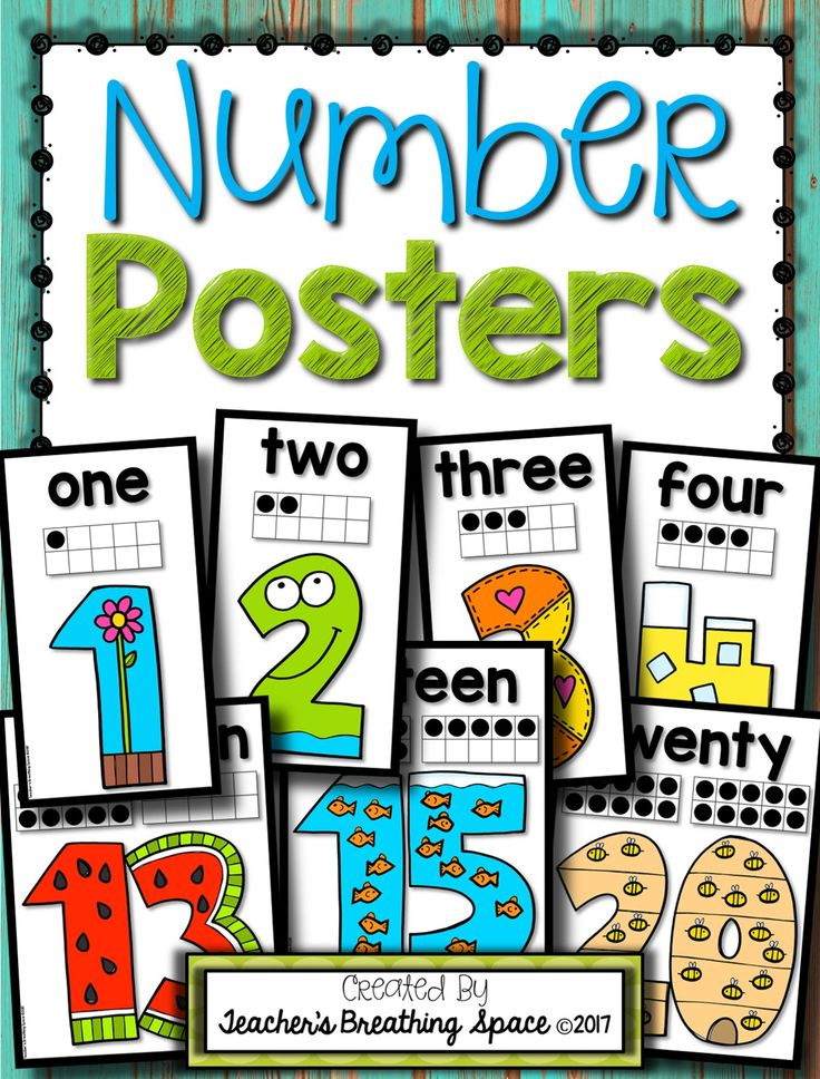 Number Posters 0-20 --- Features a simple format and adorable graphics for each number 0-20. So cute!