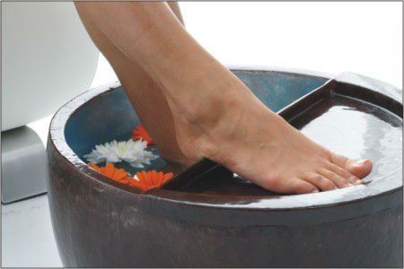 polyresin pedicure bowls with half-moon footrest $88.83