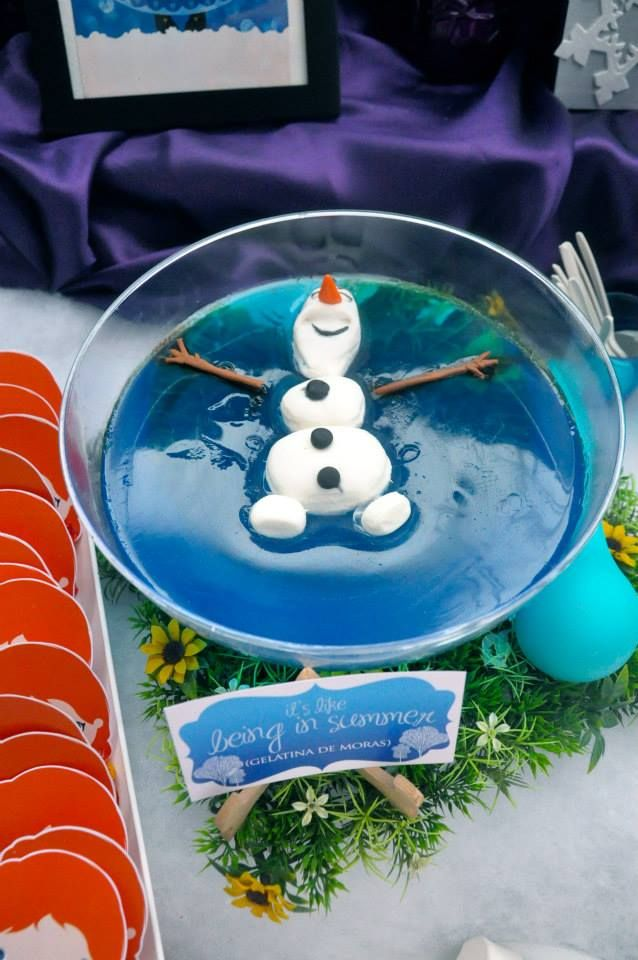 Olaf in blue jello http://www.partyworx.co.uk/1/post/2014/07/olaf-themed-party-disney-frozen.html