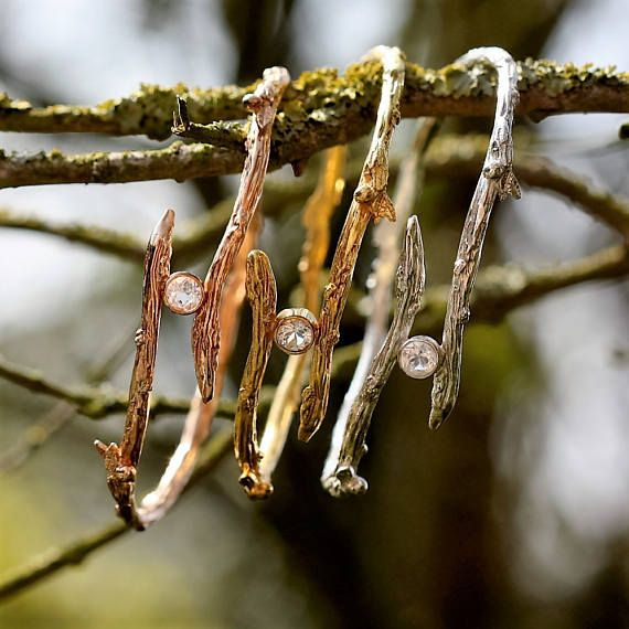 Ramoscello bangle ramoscello d'oro rosa braccialetto