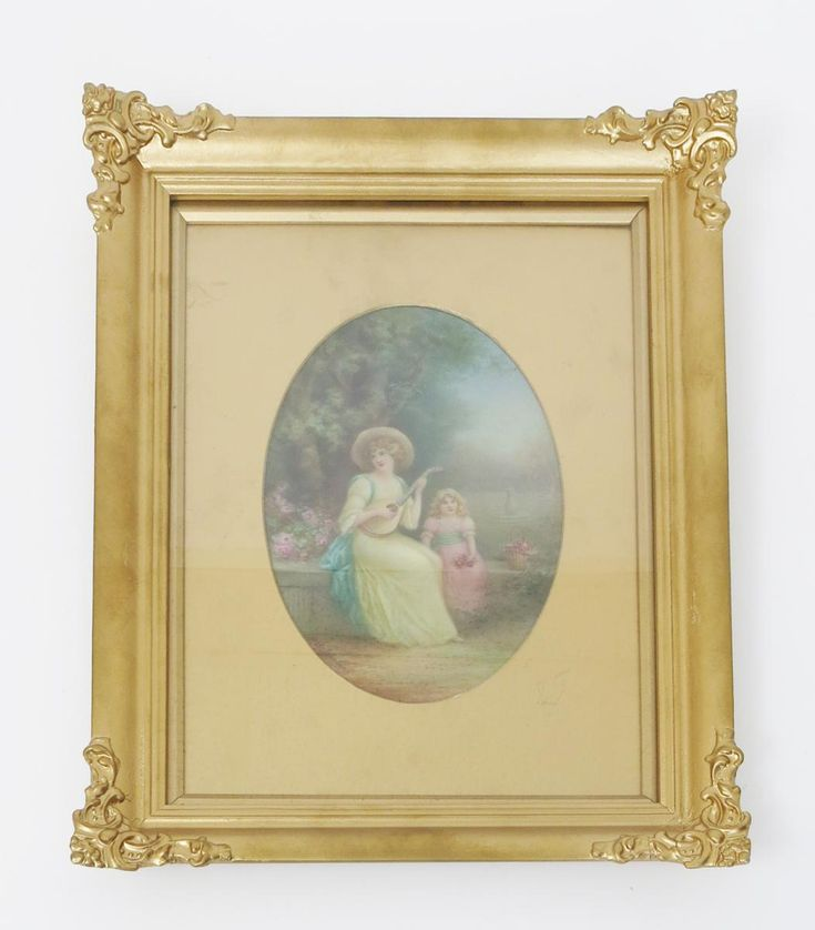 A Royal Doulton porcelain plaque by Leslie Johnson, oval, painted with a woman playing a lute, a young child holding roses, in a formal garden, framed, signed Leslie Johnson, entitled to the reverse Memories of The Past 1919, 43 x 32.5cm. (frame) plaque 22.5cm. long