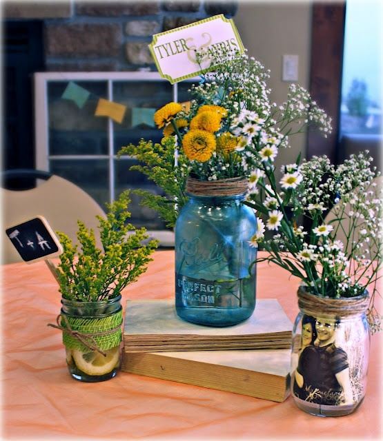Blue Mason Jars Wedding Ideas: 39 Best Mason Jar Centerpieces Images On Pinterest