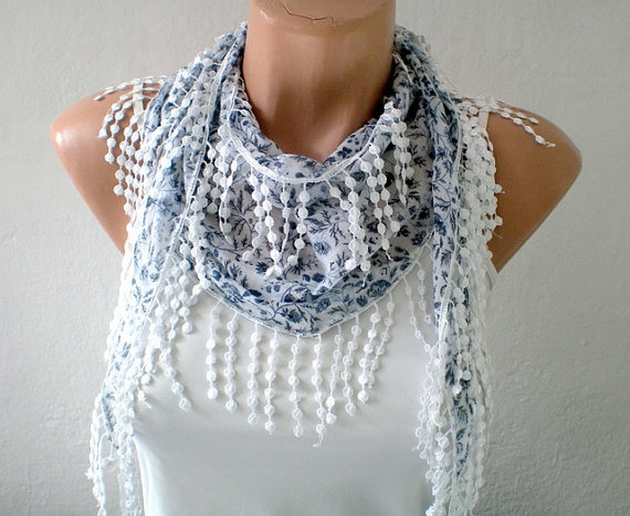 Flowered Cotton Scarf in Gray and White by fizzaccessory on Etsy, $14.00Flower Cotton, Cotton Scarf