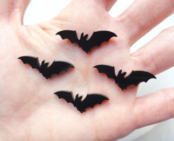 10 pcs  Tiny Black Bats Acrylic Laser Cut by CraftyMissBettie