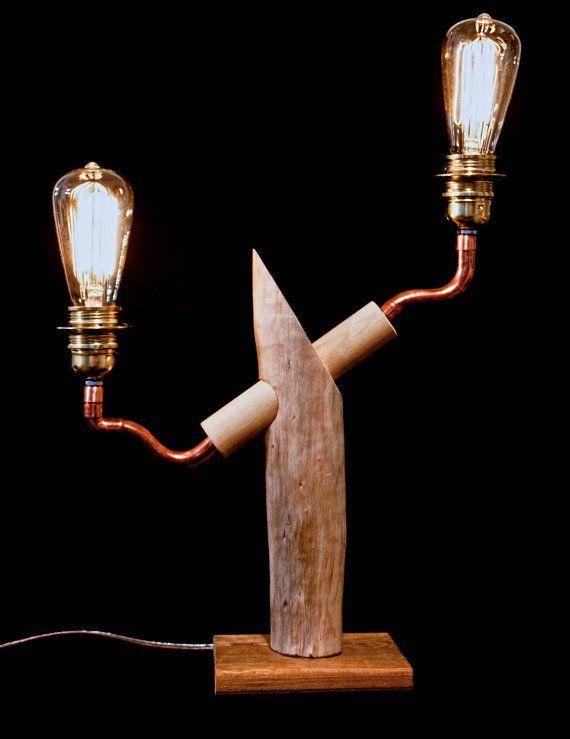 Tafel lamp van koper en drijfhout - Copper & Driftwood Table Lamp #recycle