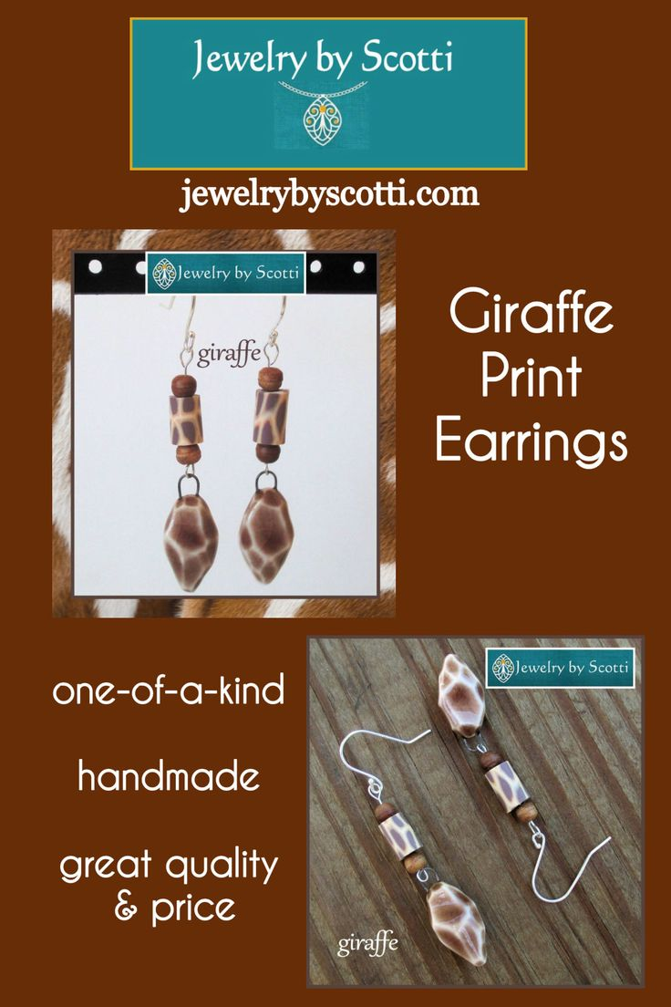 """JEWELRY BY SCOTTI: www.jewelrybyscotti.com // Giraffe Print Earrings with Sterling Silver Hooks www.etsy.com/listing/230745201 - These cute giraffy-vibe statement earrings measure 2-1/2 inches from the curve of the ear wire to the tip of the handmade ceramic giraffe print bead. The giraffe symbolizes the broad meaning of the word """"grace"""" – compassion toward others and the desire to extend goodwill, the exercise of love and kindness, especially to those who may not deserve it. Giraffes live…"""