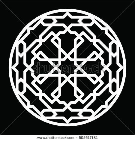 Oriental geometric pattern mosaic. Round arabic ornamental decorative motif. Circular ornament design element. Vector 10 EPS illustration.