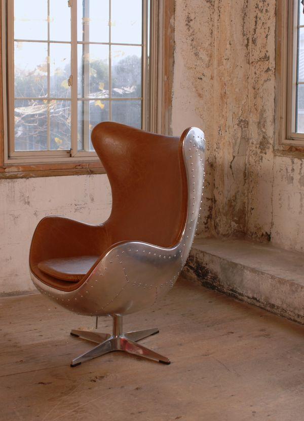 Axis Industrial Swivel Rocker Chair Aluminium Frame, Distressed Caramel