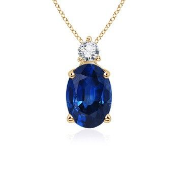 Angara Yellow Gold Womens Natural Sapphire Halo and Pendant nd9FZHEzz