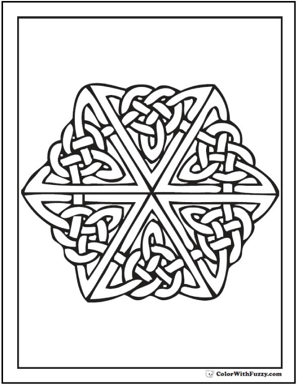 This Coloring Page Has A Celtic Cross With An Irish Knot Motif Complete Center And Flames
