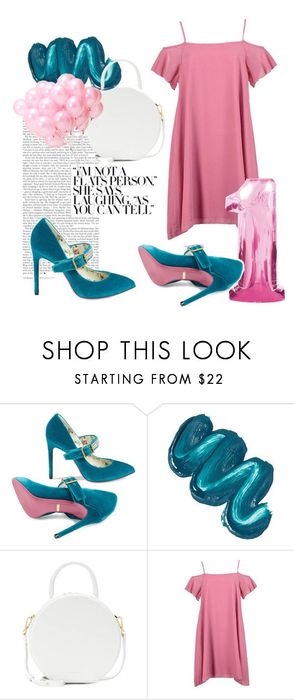 """""""Pink and Blue and White"""" by nadiadyk ❤ liked on Polyvore featuring Gucci, Mermaid Salon, Mansur Gavriel, Boohoo, Pink, fun, Elegant and bright"""
