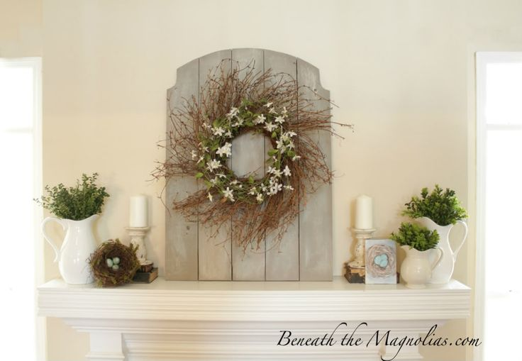 Diy Spring Wall Decor : Beneath the magnolias spring mantel with a little diy