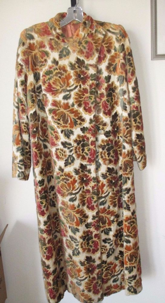 Boho Hippie BROCADE TAPESTRY COAT 60s 70s MID-CENTURY MODERN FUNKY couture MOD