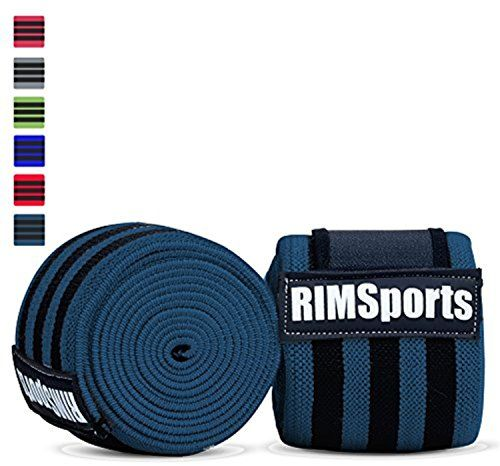 """Knee Wraps (Pair) 80"""" For Powerlifting, Gym Equipment - Premium Powerlifting Knee Wraps - Best Knee Wraps For Squats - Ideal Knee Straps Weightlifting & Knee Straps For Squats (Turquoise)...  RIMSports Knee Wraps • SAFETY: RIMSports best weight lifting knee wraps when properly used, can improve knee safety during heavy squatting, since these knee wraps for squats provide exceptional knee support. • STRENGTH: Our powerlifting knee wraps and more than just power wraps, usin"""