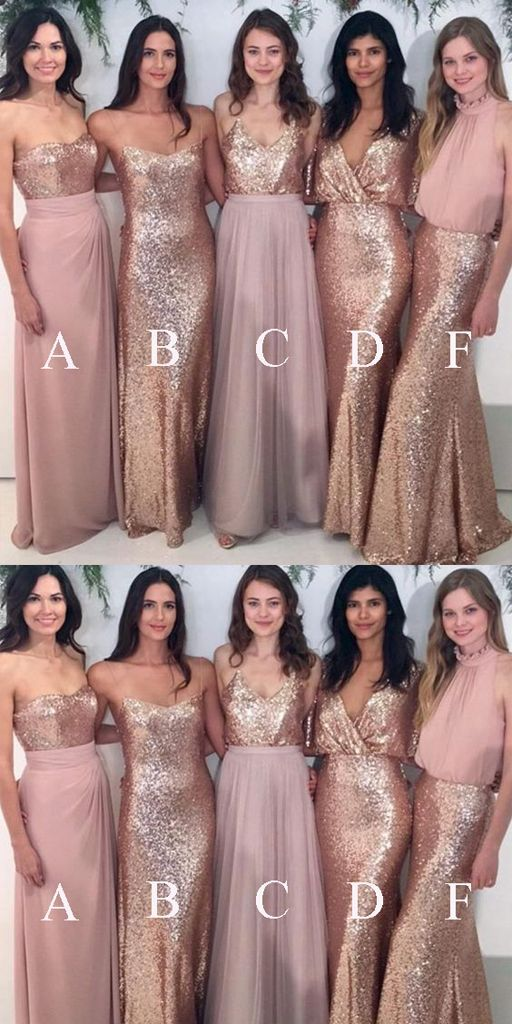 Chiffon prom dress,Pink A-line prom dresses, Long bridesmaid dresses, Sequin bridesmaid dresses,WGY1002 from PromMode