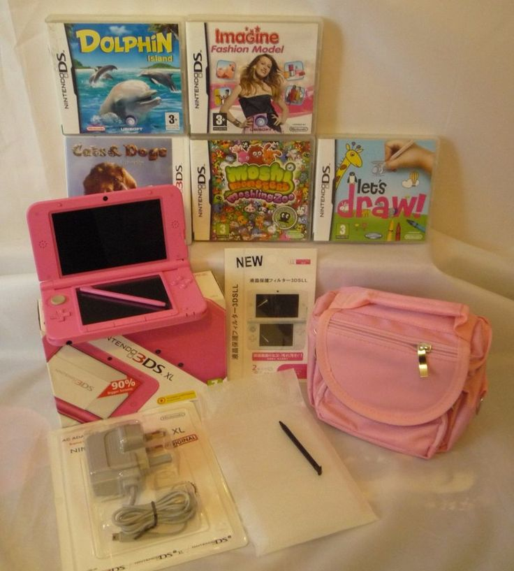 Nintendo 3DS XL Console Fusia Pink, New Charger, New Travel Bag & 5 Games (Mint) #Nintendo