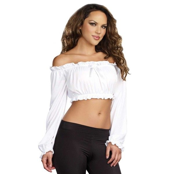 BuyCostumes.com Pretty 'n Peasant Adult Top ($9.99) ❤ liked on Polyvore featuring costumes, halloween costumes, adult pirate costumes, adult costume, sexy goddess costume, adult snow white costume and sexy adult costumes